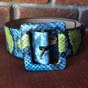 Juicy Couture Blue Faux Snake Skin Belt